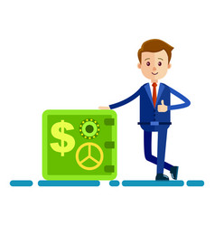 cartoon businessman stands near safe vector image