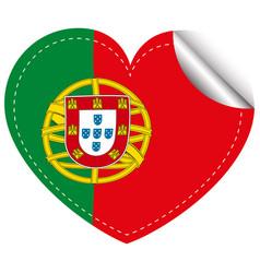 Sticker design for portugal in heart shape vector