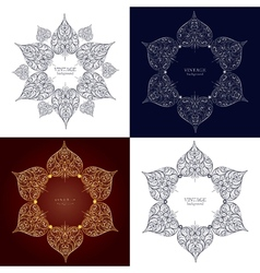 Set of four ornamental round lace circle ornament vector