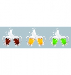 Three beer mug vector