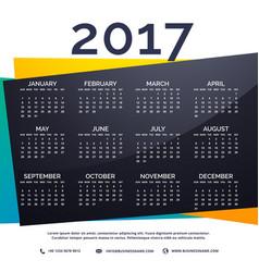 2017 new year calendar template vector