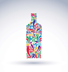 Bright flowery alcohol bottle stylized glassware vector