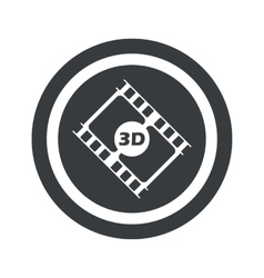 Round black 3d movie sign vector