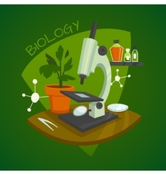 Biology laboratory workspace design concept vector