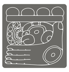 Monochrome icon with glyphs of the maya night lord vector