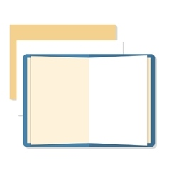 Flat mockups of open book and paper sheets vector image