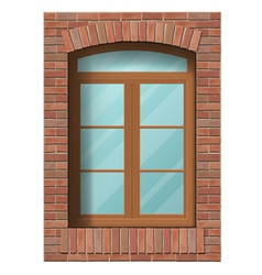 Arched window in brick wall vector