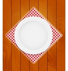 White eppty plate on kitchen napkin at wooden vector