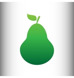 Pear sign green gradient icon vector