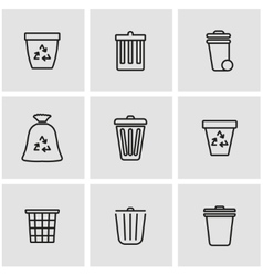 Line trash can icon set vector