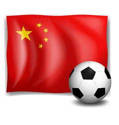 A soccer ball in front of the Chinese flag vector image vector image