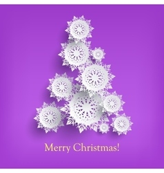 Abstract new year tree from snowflakes isolated vector