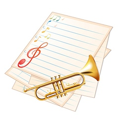 An empty music paper with a trumpet vector image
