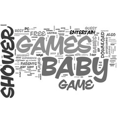 Best baby shower games text word cloud concept vector