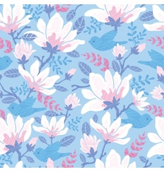 Birds among blossoms seamless pattern background vector image