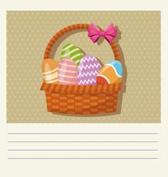cartoon basket egg easter celebration vector image vector image