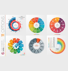 Collection of 6 circle chart templates 11 vector