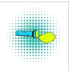 Flashlight comics icon vector