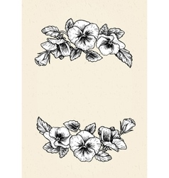 Frame with hand drawn pansy flowers vector image