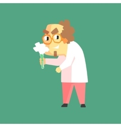Funny scientist in lab coat with test tube and vector