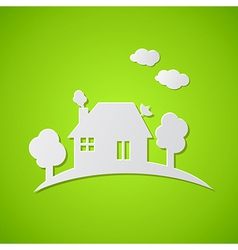 Green background with white paper house vector