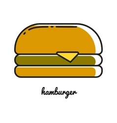 hamburger line icon vector image