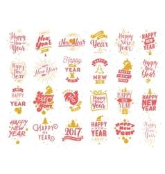 Happy new year typographic emblems set vector