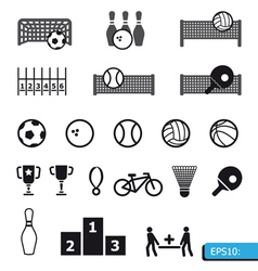 icons sports on black buttons vector image vector image