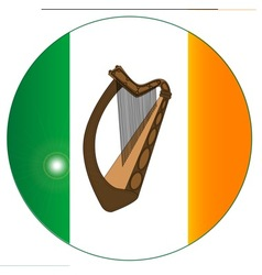 Irish flag with harp button vector