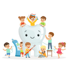 little children take care of and clean a large vector image vector image