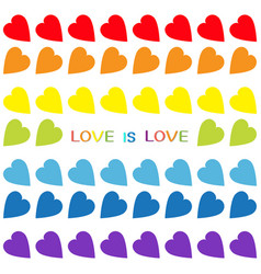 love is love rainbow text rainbow heart set vector image vector image