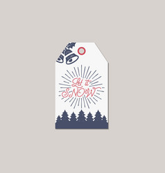 merry christmas and new year gift tag holiday vector image vector image