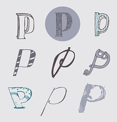 Original letters p set isolated on light gray vector