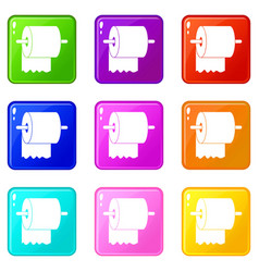 Roll of toilet paper on holder icons 9 set vector