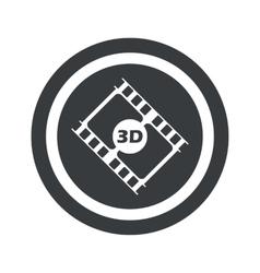 Round black 3d movie sign vector