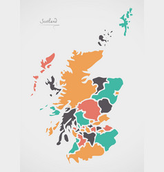 Scotland map with states and modern round shapes vector