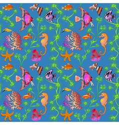 Seamless pattern marine life with colorful fish co vector