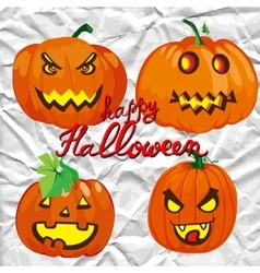 Set of spooky halloween jack o lanterns vector
