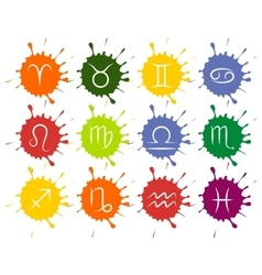 Set of zodiac signs colorful paint drops vector