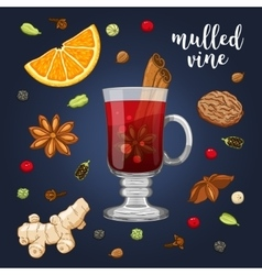Set on dark with mulled wine vector