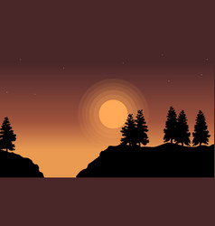 Silhouette of tree lined on hill landscape vector