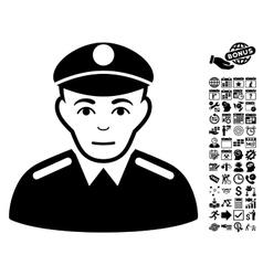 Soldier flat icon with bonus vector