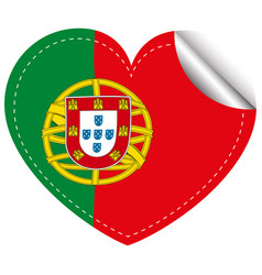 Sticker design for portugal in heart shape vector