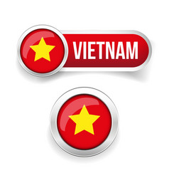 Vietnam flag button vector image vector image