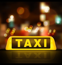Taxi sign on car roof vector