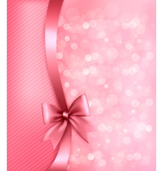Holiday pink background with old paper and gift vector image