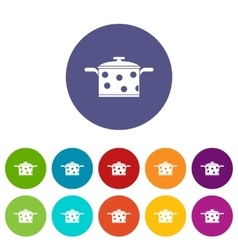Saucepan with white dots set icons vector image