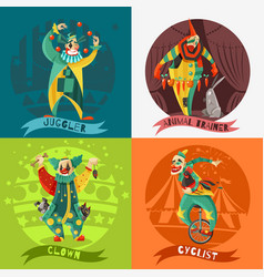 Circus clowns 4 icons square concept vector