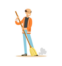 Smiling mature street sweeper at work street vector