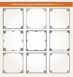 Decorative square frames and borders set 9 vector